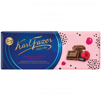Karl Fazer Milk Chocolate Raspberry Liquorice 200 g