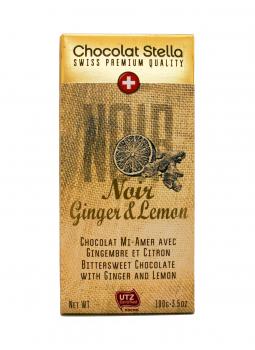 Chocolat Stella Noir Ginger & Lemon 100g